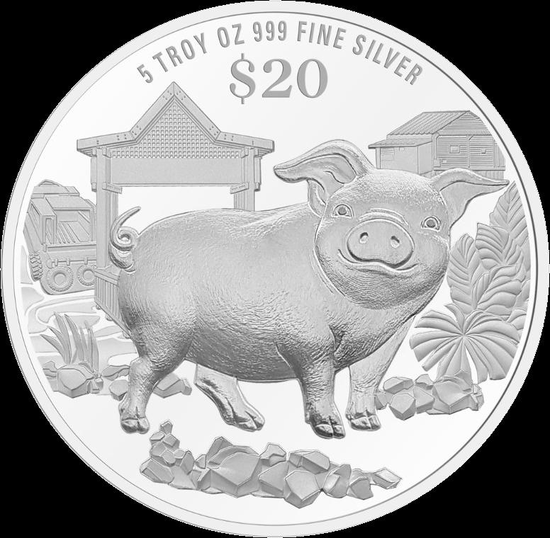 Сингапур монета 20 долларов Год Свиньи 2019, реверс