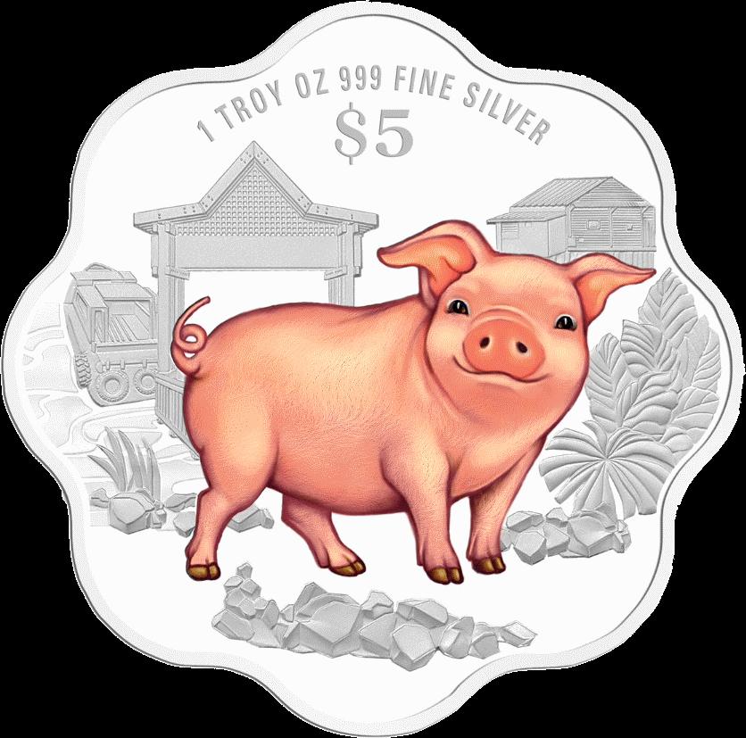 Сингапур монета 5 долларов Год Свиньи 2019, реверс