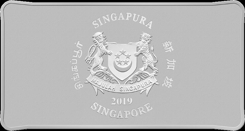 Сингапур прямоугольная монета 80 долларов Год Свиньи 2019, аверс