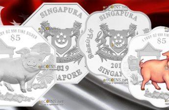 Сингапур восьмиугольная монета 5 долларов Год Свиньи 2019