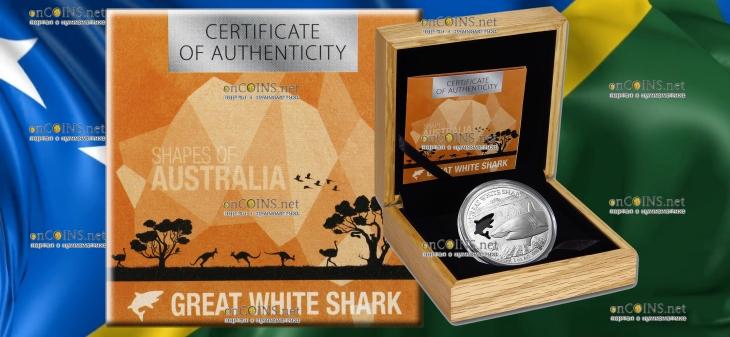 Соломоновы острова монета 5 долларов Акула, подарочная упаковка