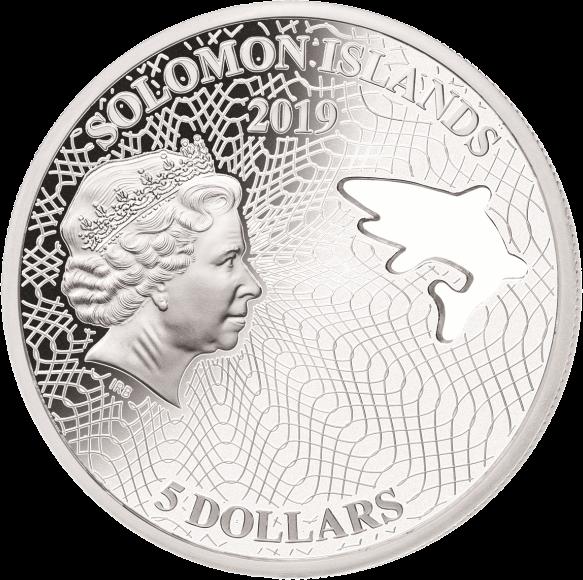 Соломоновы острова монета 5 долларов Белая акула, аверс
