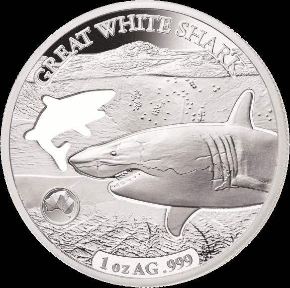 Соломоновы острова монета 5 долларов Белая акула, реверс