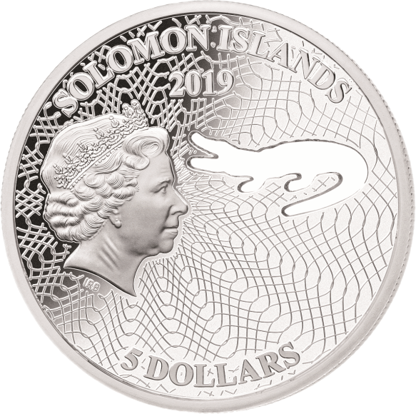 Соломоновы острова монета 5 долларов Гребнистый крокодил, аверс