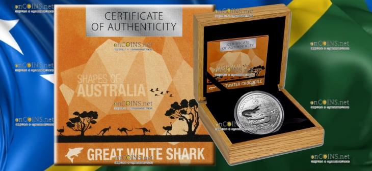 Соломоновы острова монета 5 долларов Гребнистый крокодил, подарочная упаковка