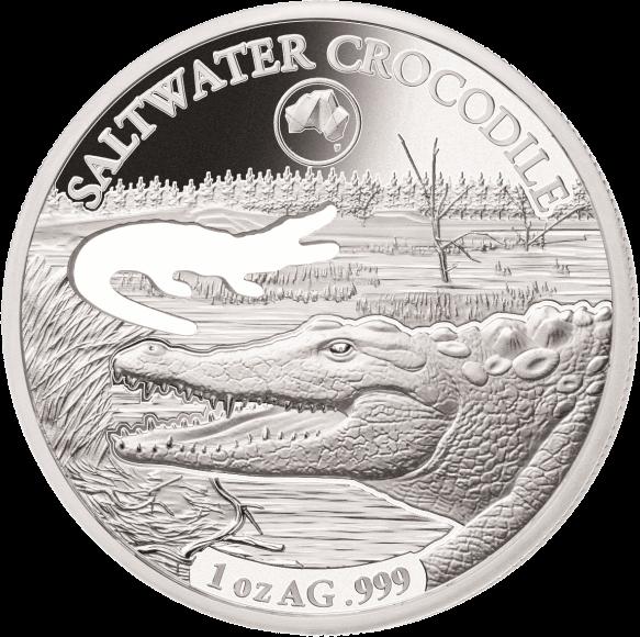 Соломоновы острова монета 5 долларов Гребнистый крокодил, реверс