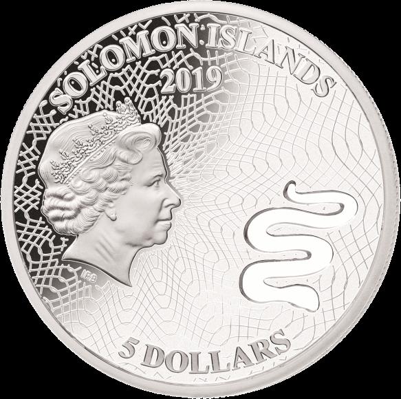 Соломоновы острова монета 5 долларов Коричневая змея, аверс
