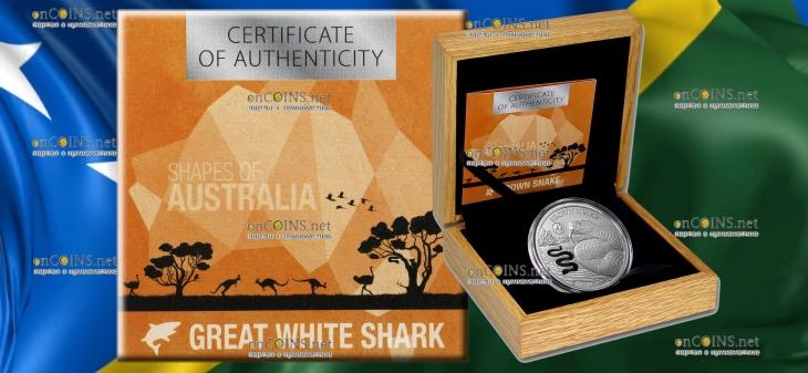 Соломоновы острова монета 5 долларов Коричневая змея, подарочная упаковка