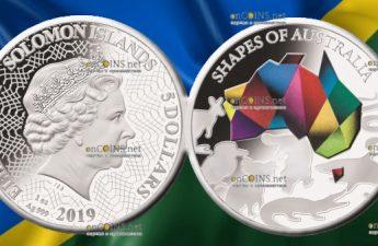 Соломоновы острова монета 5 долларов Силуэты Австралии