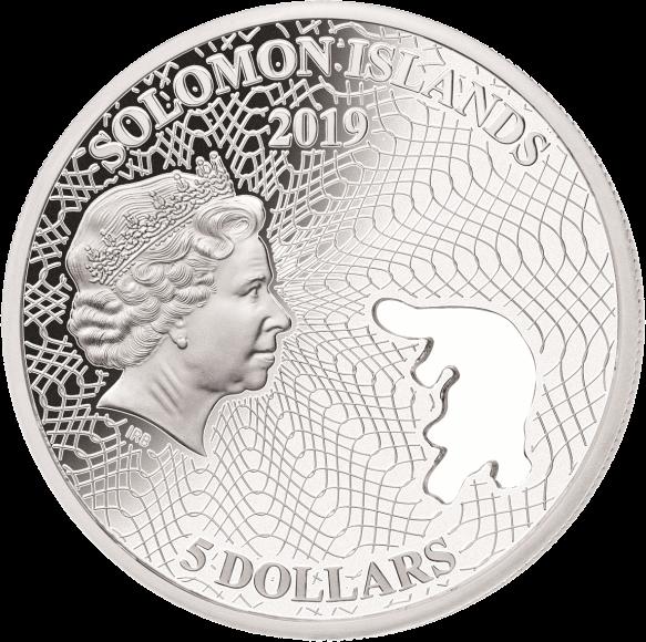 Соломоновы острова монета 5 долларов Утконос, аверс