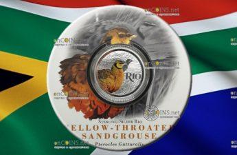 ЮАР монета 10 рандов Желтогорлый Рябок
