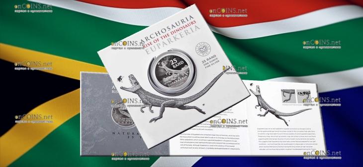 ЮАР монета 25 рандов Эупаркерия, подарочная упаковка
