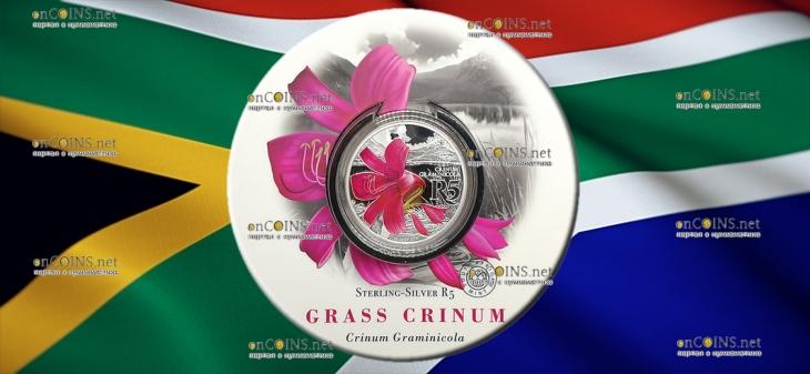 ЮАР монета 5 рандов Кринум Граминикола