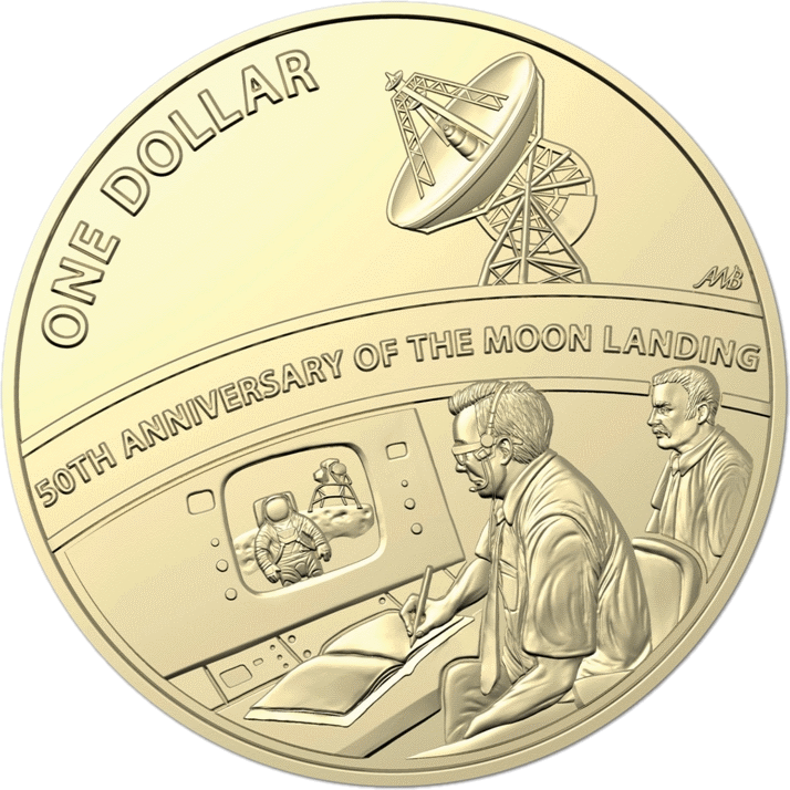 Австралия 1 доллар 50-летие посадки на Луну, реверс