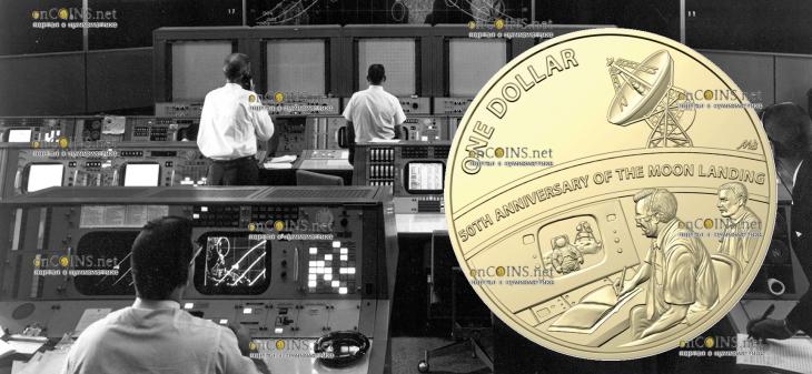 Австралия 1 доллар 50-летие посадки на Луну