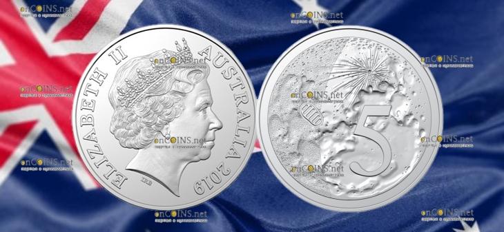 Австралия 5 центов 50-летие посадки на Луну
