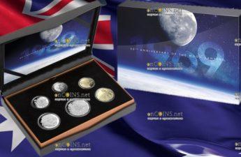 Австралия годовой набор циркуляционных монет 2019 год с монетами серии 50-летие посадки на Луну