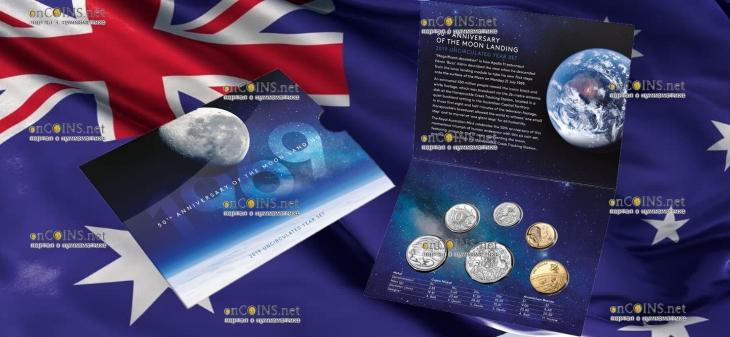 Австралия годовой набор циркуляционных монет 2019 год с монетами серии 50-летие посадки на Луну в качестве Uncirculated