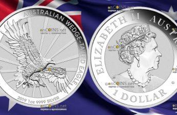 Австралия монета 1 доллар Клинохвостый орел, 2019 год