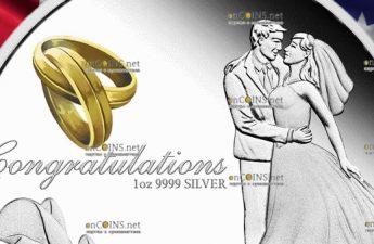 Австралия монета 1 доллар Поздравляем с Бракосочетанием 2019
