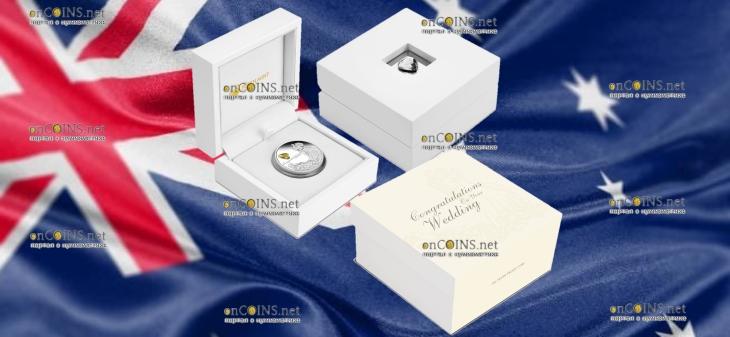 Австралия монета 1 доллар Поздравляем с Бракосочетанием, подарочная упаковка