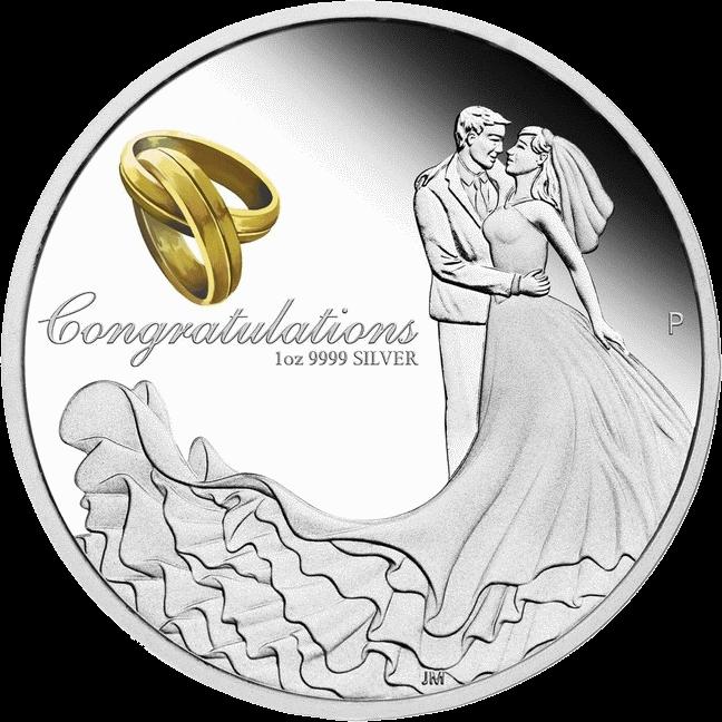 Австралия монета 1 доллар Поздравляем с Бракосочетанием, реверс