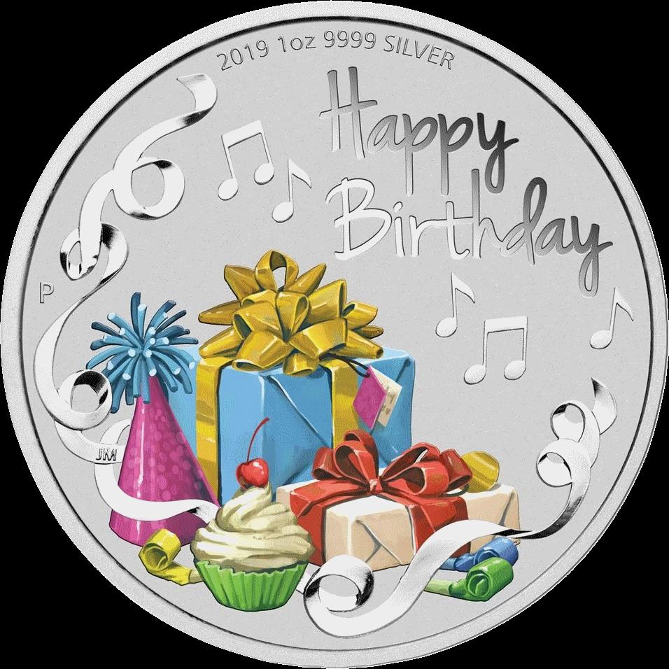Австралия монета 1 доллар С днем Рождения, реверс