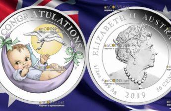 Австралия монета 50 центов Поздравления с новорожденным 2019 год