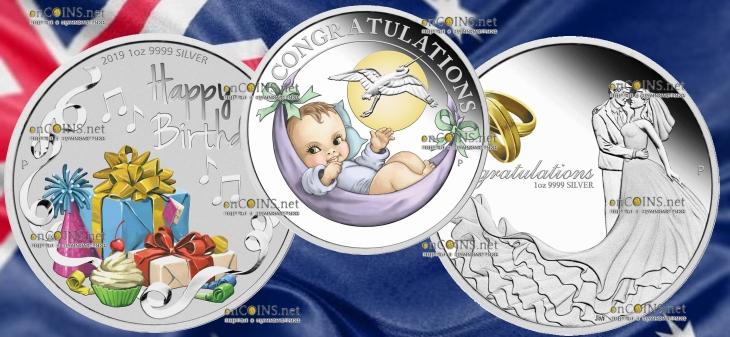 Австралия серия монет Поздравляю 2019 года