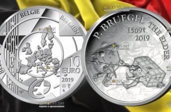 Бельгия монета 10 евро Питер Брейгель