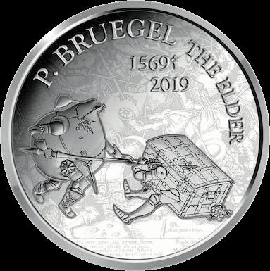Бельгия монета 10 евро Питер Брейгель, реверс