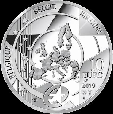 Бельгия монета 10 евро серебро, 2019 год,, аверс