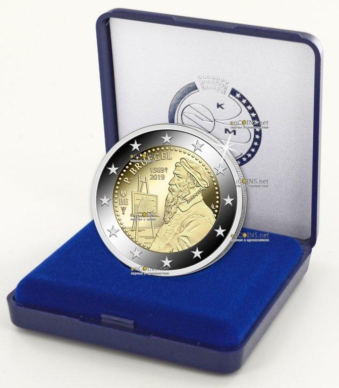 Бельгия монета 2 евро Питер Брейгель, proof - подарочная упаковка