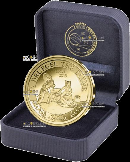 Бельгия монета 50 евро Питер Брейгель, подарочная упаковка