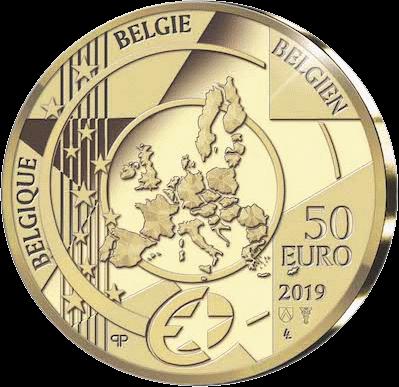 Бельгия монета 50 евро золото, 2019 год,, аверс