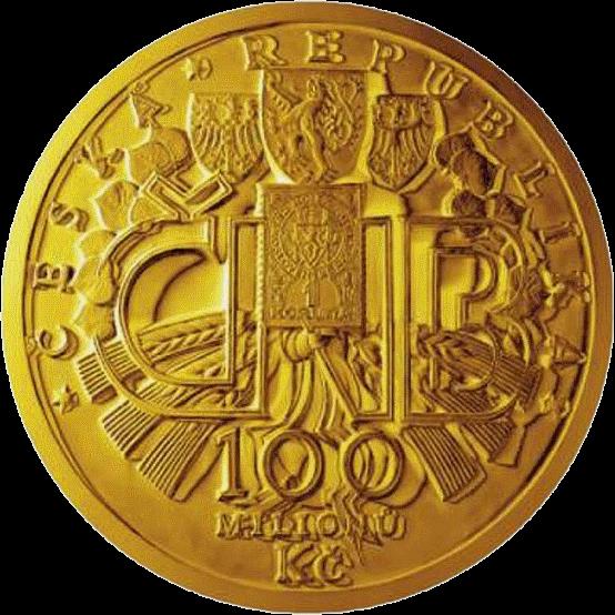 Чехия монета 100 миллионов крон 100-летие чехословацкой валюты, аверс