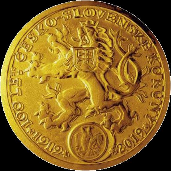 Чехия монета 100 миллионов крон 100-летие чехословацкой валюты, реверс