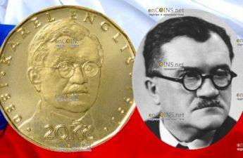 Чехия монета 20 крон Карел Энглиш