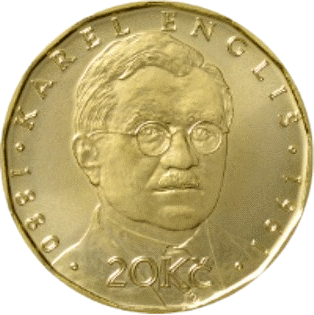 Чехия монета 20 крон Карел Энглиш реверс