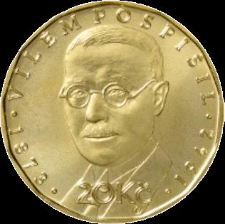 Чехия монета 20 крон Вилем Поспишил, реверс