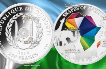 Джибути монета 250 франков Силуэты Африки