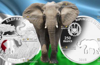Джибути монета 250 франков Слон