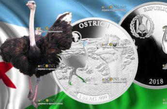 Джибути монета 250 франков Страус