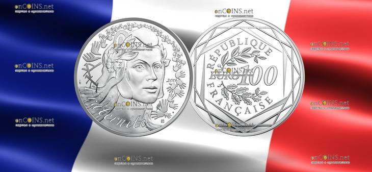 Франция Монета 100 евро Марианна - Символ Французской республики 2019