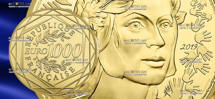 Франция Монета 1000 евро Марианна - Братство