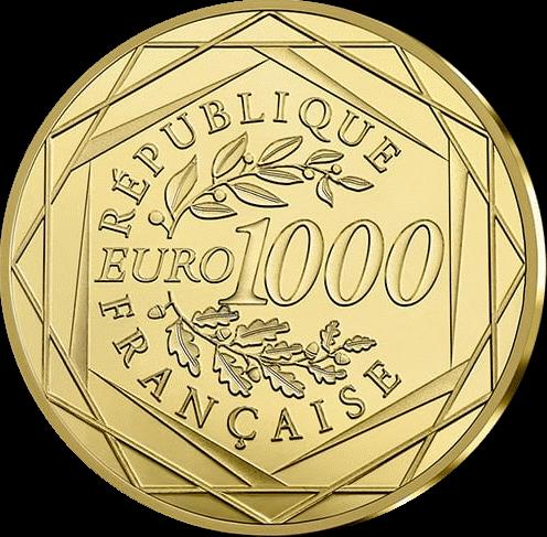 Франция Монета 1000 евро Марианна - Символ Французской республики 2019, аверс