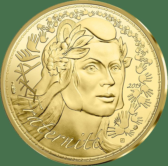 Франция Монета 250 евро Марианна - Символ Французской республики 2019, реверс