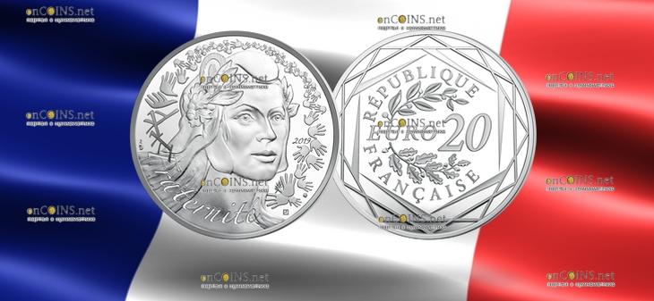 Франция Монета 20 евро Марианна - Символ Французской республики 2019