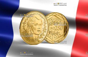 Франция Монета 250 евро Марианна - Символ Французской республики 2019