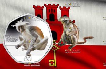 Гибралтар монета 50 пенсов Красный колобус